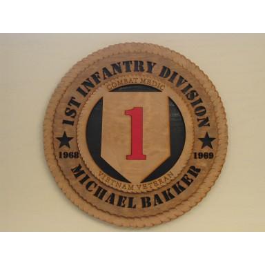 1st Infantry Division Veteran Combat Medic Vietnam Custom Plaque